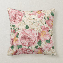 Vintage Pink Peonies and Ivory Hydrangeas Pattern Throw Pillow
