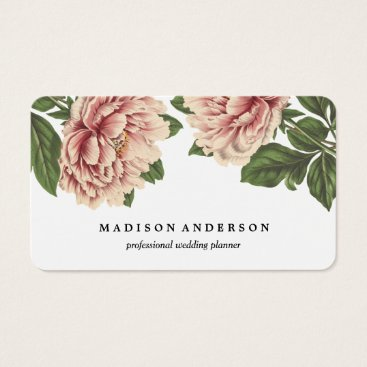 Professional Business Vintage Pink Peonies Business Card