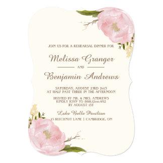 """Vintage Pink Peonies Rehearsal Dinner Invitation 5"""" X 7"""" Invitation Card"""
