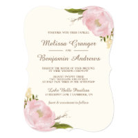 Vintage Pink Peonies Wedding Invitation