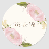 Vintage Pink Peonies Wedding Monogram Sticker
