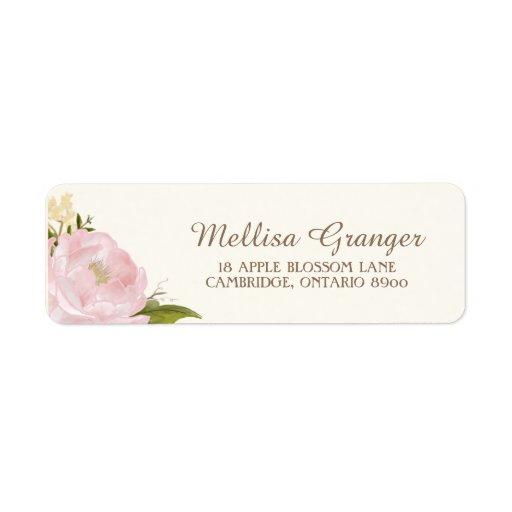 Vintage Pink Peonies Wedding Return Address Label