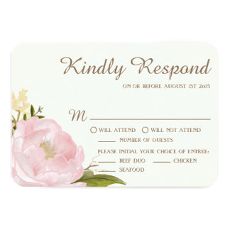 Vintage Pink Peonies Wedding RSVP Card II