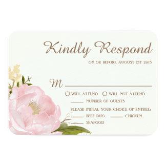 Vintage Pink Peonies Wedding RSVP Card II
