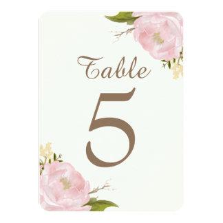 Vintage Pink Peonies Wedding Table Numbers Card Custom Invitations