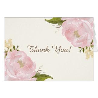 Vintage Pink Peonies Wedding Thank You Card