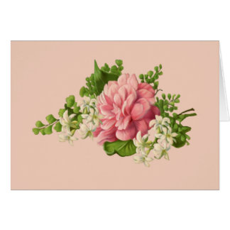 Vintage Pink Peony and White Jasmine, blank Card