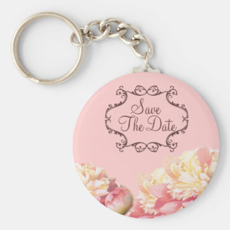 vintage pink peony floral wedding keychain