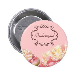vintage pink peony floral wedding pinback button
