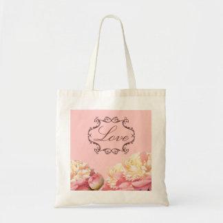 vintage pink peony floral wedding tote bag