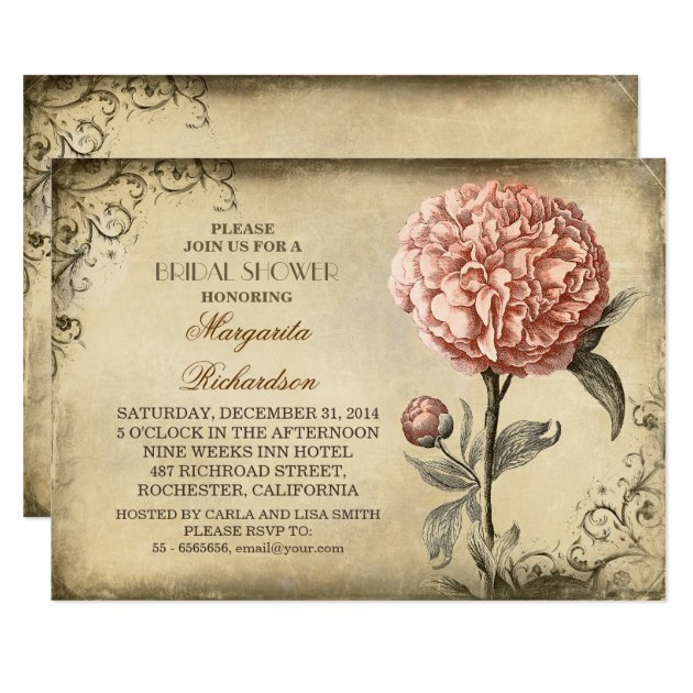 vintage pink peony rustic bridal shower invitation | zazzle, Wedding invitations