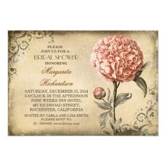 vintage pink peony rustic bridal shower invitation