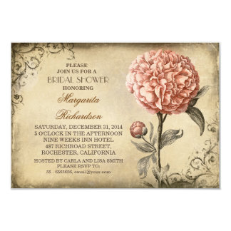 vintage pink peony rustic bridal shower invitation