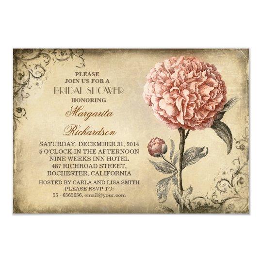vintage pink peony rustic bridal shower invitation Zazzlecom