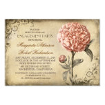 vintage pink peony rustic engagement party card
