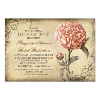 vintage pink peony rustic rehearsal dinner 3.5x5 paper invitation card