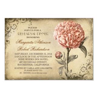 vintage pink peony rustic rehearsal dinner card