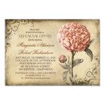 vintage pink peony rustic rehearsal dinner custom invites