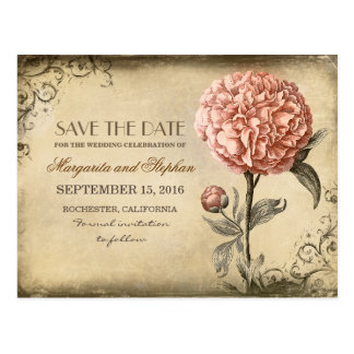 Vintage Pink Peony Save the Date Postcard