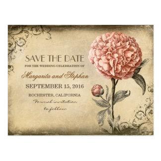 Vintage Pink Peony Save the Date Postcard