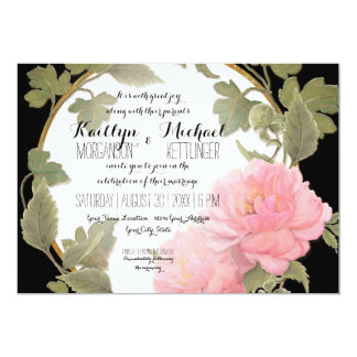 Vintage Pink Peony Wreath Foliage Gold Square Card