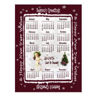 Vintage Pink Poinsettia 2015 Calendar Postcard #2
