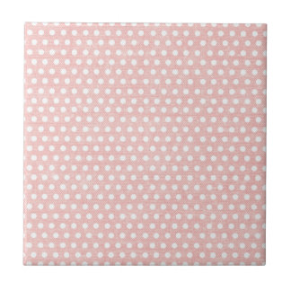 Vintage Pink Polka Dot Pattern Ceramic Tile