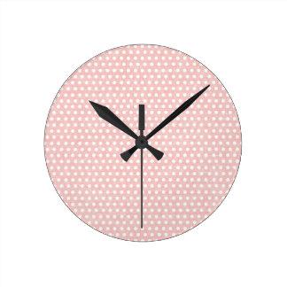 Vintage Pink Polka Dot Pattern Round Clock