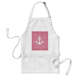 Vintage Pink Polka Dots White Nautical Anchor Adult Apron