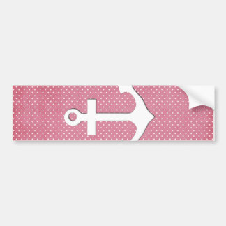 Vintage Pink Polka Dots White Nautical Anchor Bumper Sticker