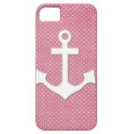 Vintage Pink Polka Dots White Nautical Anchor iPhone 5 Cover