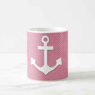 Vintage Pink Polka Dots White Nautical Anchor Coffee Mug