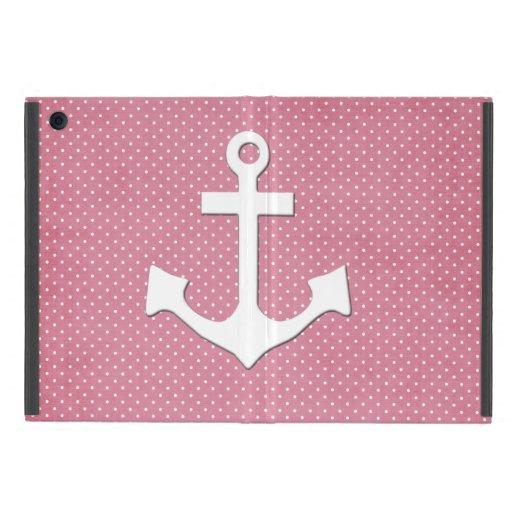 Vintage Pink Polka Dots White Nautical Anchor iPad Mini Case