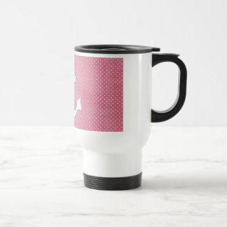 Vintage Pink Polka Dots White Nautical Anchor Travel Mug