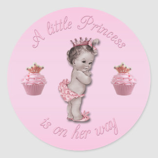 Vintage Pink Princess Baby & Cupcakes Shower Classic Round Sticker