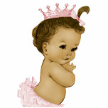 """Vintage Pink Princess Baby Girl Shower Cutout<br><div class=""""desc"""">Adorable ivory vintage princess African American baby girl shower sculpture is perfect for use as a baby shower table decoration or as a baby shower gift. Pick your size and quantity by choosing the customize it button.</div>"""