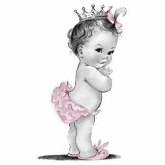 Vintage Pink Princess Baby Girl Shower Cutout