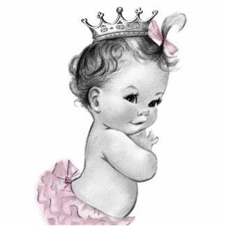 Vintage Pink Princess Baby Girl Shower Photo Sculpture