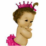 """Vintage Pink Princess Baby Girl Shower Statuette<br><div class=""""desc"""">Adorable black and pink vintage pink African American princess baby girl shower sculpture is perfect for use as a baby shower table decoration or as a baby shower gift. Pick your size and quantity by choosing the customize it button.</div>"""