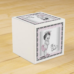 Vintage Pink Princess Baby Shower Favor Box