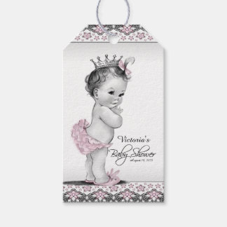 Vintage Pink Princess Baby Shower Gift Tags