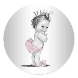 Vintage Pink Princess Baby Shower Stickers