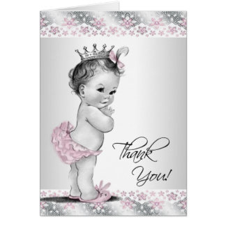 Vintage Pink Princess Baby Shower Thank You Cards Note Card