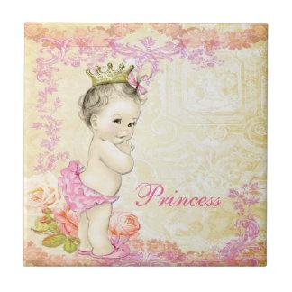 Vintage Pink Princess Small Square Tile
