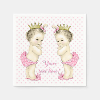 Vintage Pink Princess Twin Baby Girl Shower Paper Napkin