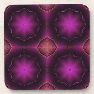 Vintage Pink Purple And Orange Mosaic Pattern Beverage Coaster