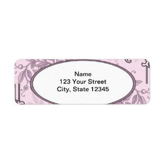 Vintage Pink Purple Floral Business Label