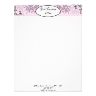 Vintage Pink Purple Floral Business Letterhead