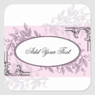 Vintage Pink Purple Floral Business Square Sticker
