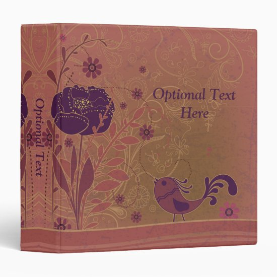 Vintage Pink Purple Flowers and Birds Photo Album 3 Ring Binder